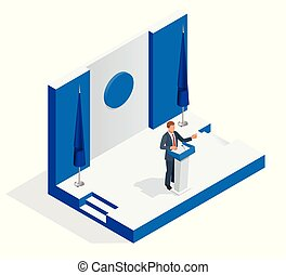 isometric, pessoas negócio, isolado, ilustração, público, gerente, vetorial, fala, falando, branca, tribuna, tribune., apresentação, microphone., orador, fazer