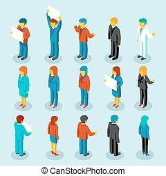 isometric, pessoas negócio, vetorial, figuras, 3d