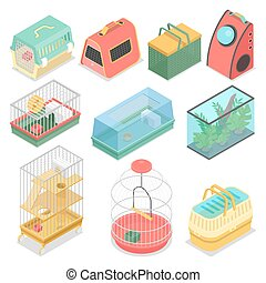 Isometric Pet Carriers with Aquarium and Portable House for Cat, Hamster and Bird. Vector flat 3d illustration