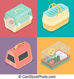 Isometric Pet Carriers with Portable House for Cat and Hamster. Vector flat 3d illustration
