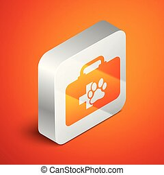 Isometric Pet first aid kit icon isolated on orange background. Dog or cat paw print. Clinic box. Silver square button. Vector Illustration
