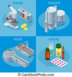 Isometric Pharmaceutical Industry Square Composition
