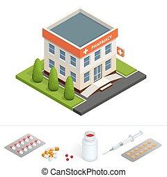 Isometric pharmacy store. Facade of pharmacy in the urban...