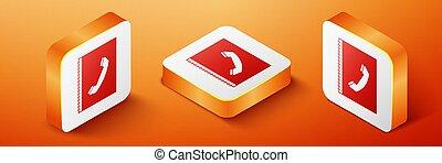 Isometric Phone book icon isolated on orange background. Address book. Telephone directory. Orange square button. Vector