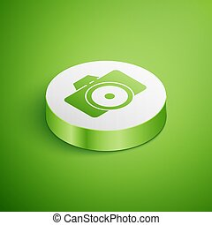 Isometric Photo camera icon isolated on green background. Foto camera icon. White circle button. Vector Illustration