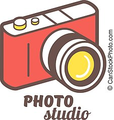 Isometric photo camera line icon