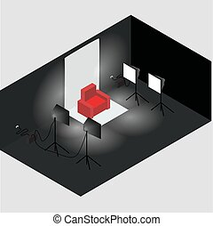 Isometric photo studio room interior with workplace, equipment and professional lighting.