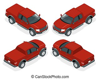 Isometric Pickup truck vector illustration