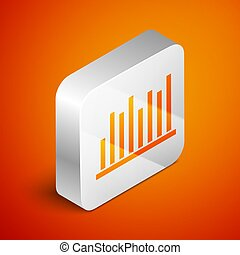 Isometric Pie chart infographic icon isolated on orange background. Diagram chart sign. Silver square button. Vector Illustration