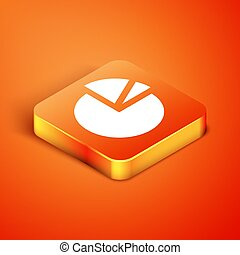 Isometric Pie chart infographic icon isolated on orange background. Diagram chart sign. Vector Illustration