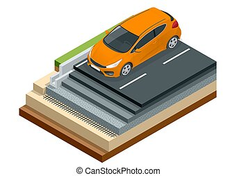 Isometric piece of asphalt road with car isolated on the...
