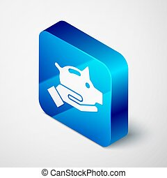 Isometric Piggy bank icon isolated on grey background. Icon saving or accumulation of money, investment. Blue square button. Vector