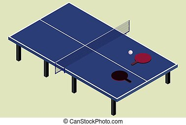 Isometric ping pong blue tennis table