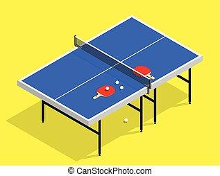 isometric Ping pong still life illustration table tennis racket