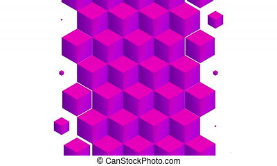 Isometric pink cubes pattern vertical transition. Including luma matte.