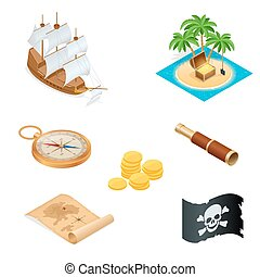 Isometric Pirate accessories flat icons. Collection with wooden treasure chest and black jolly roger flag. Vector illustration