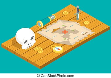 Isometric Pirate Treasure Adventure Game RPG Map Action Knife dagger Spyglass Skull Compass Icon Symbol Wood Table Background Concept Flat Design Vector Illustration