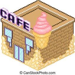 Isometric pixel art cafe building