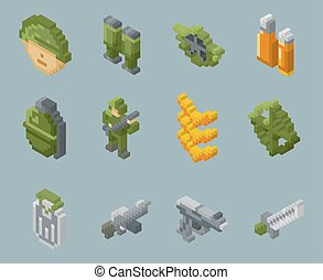 Isometric pixel soldiers and weapons vector icons