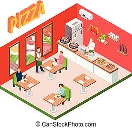 isometric, pizzéria, háttér