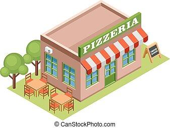 Isometric pizzeria. - Image isometric pizzeria, standing on ...
