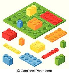 Isometric plastic constructor blocks and bricks. 3D vector illustration.