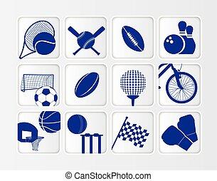 isometric, plat, sporten, bal, pictogram, set, op wit, achtergrond