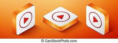 Isometric Play icon isolated on orange background. Orange square button. Vector