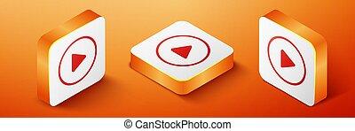 Isometric Play icon isolated on orange background. Orange square button. Vector