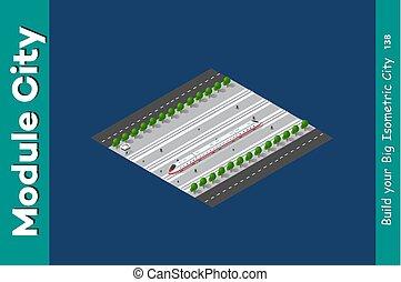 isometric, pociąg, przewóz, 3d
