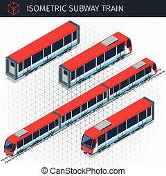 isometric, pociąg, tunel