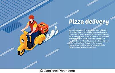 isometric, pojęcie, chorągiew, styl, doręczenie, pizza