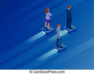 isometric, pojęcie, handlowe osoby, opportunities., nowoczesny, badawczy, ilustracja, platforma, teamwork., balansowy, lider, przelotny