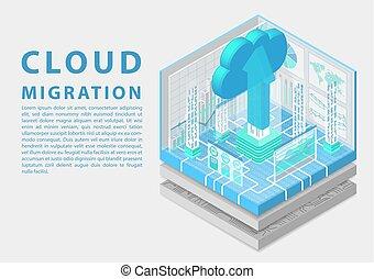 isometric, pojęcie, illustration., symbol, upload, wektor, wędrówka, strzała, ruchomy, chmura, 3d