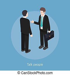 isometric, pojęcie, ludzie, ilustracja, wektor, projektować, rozmowa, 3d