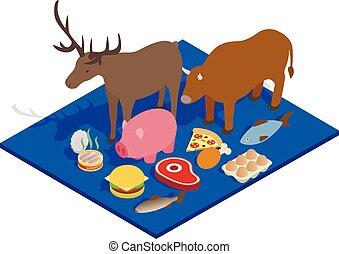 isometric, pojęcie, mięso, styl, dieta, chorągiew