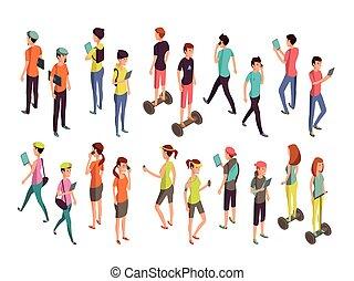 isometric, pojęcie, phones., ludzie, odizolowany, nastolatki, młody, laptopy, wektor, komputerowa technologia, przypadkowe ubranie