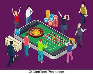 isometric, pojęcie, ruletka, ludzie., kasyno, wektor, online, stół
