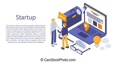 isometric, pojęcie, startup, chorągiew, styl