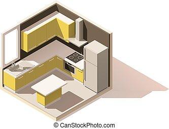 isometric, pokój, poly, wektor, niski, kuchnia, ikona