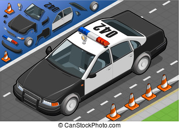 Isometric Police Car in Front View - detailed illustration...