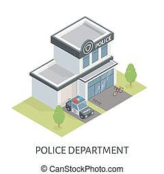 Isometric police department building. Patrol car. Bicycle in...