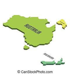 Isometric political map of Australia