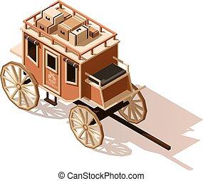 isometric, poly, vetorial, baixo, stagecoach, ícone