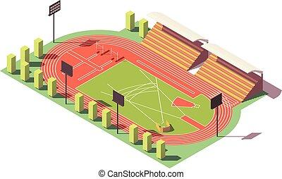 isometric, poly, wektor, niski, stadion, atletyka