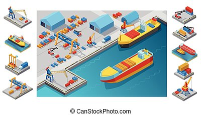 isometric, porto, mar, modelo