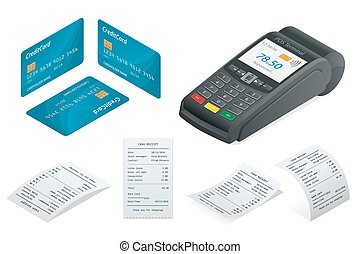 Isometric POS Terminal, debit credit card, Sales printed...