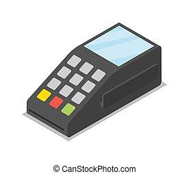 isometric, pos, terminal, kredyt, 3d, karta, ikona