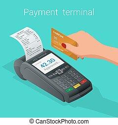 isometric, pos, terminal, kredyt, debet, umacnia, wpłata, karta