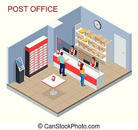 Isometric Post Office concept. Young man and woman waiting for a parcel in a post office. Correspondence isolated vector illustration